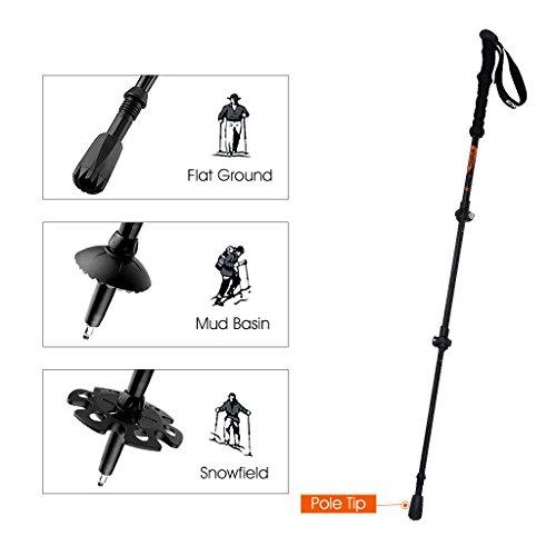 Enkeeo 2-Pack Trekking Poles for Hiking/Walking/Traveling/Backpacking, Carbon Fiber Shaft Comfortable EVA Hand Grips with Adjustable Wrist Straps Mud/Snow Baskets External Lever lock, Black and Orange