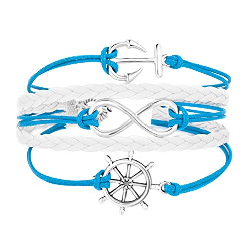 JewelryJo Navy Sailor Anchor Boat Steering Wheel Infinity Voyage Icons Gypsy Boho Leather Wrap Charm Bracelet Aqua Blue White