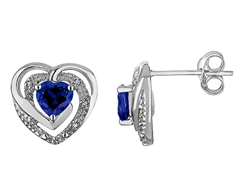 - Created Blue Sapphire Heart Earrings with Diamonds 4/5 Carat (ctw) in Sterling Silver