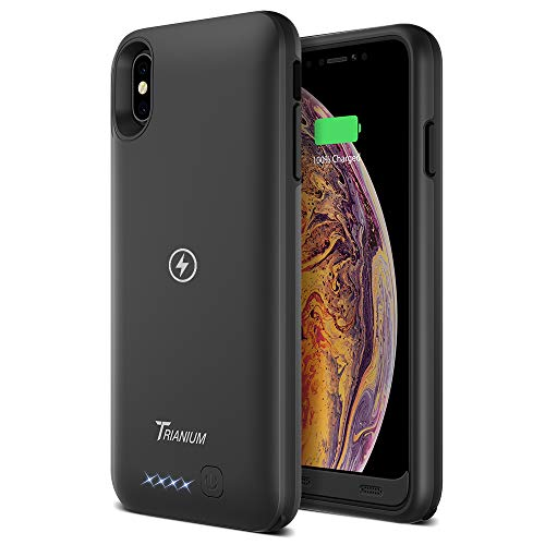 """Trianium Atomic Pro 3500mAh Battery Case Compatible with Apple iPhone Xs Max (6.5"""") Case with Qi Wireless Charging Technology Rechargeable Extended Power Case [Work on Wireless Charger Pad]"""