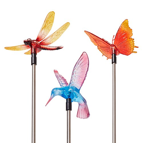 Solar Garden Stake Lights, Flower, Hummingbird, Butterfly or Dragonfly, 3 Piece Set (Shady Tree Studio)