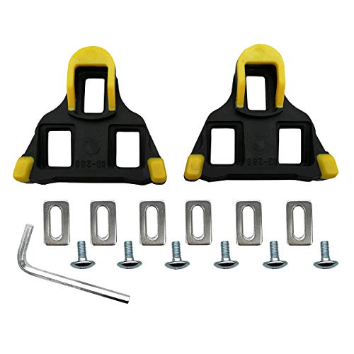 SPORTMORE Bike Cleats for Cycling Shoes 6 Degree,Indoor Spinning & Road Bicycle Clips Set Compatible with Shimano - Yellow