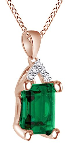 Simulated Emerald With White Diamond Solitaire Pendant Necklace In 10K Solid Rose Gold by AFFY
