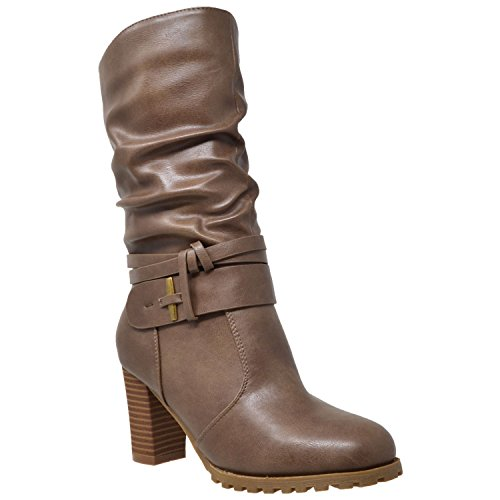 Generation Y Womens Mid Calf Boots Faux Leather Ruched Strappy Stacked Block...