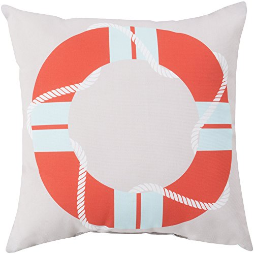 Surya RG083-2626 Indoor/Outdoor Pillow, 26-Inch by 26-Inch, Coral/Light Gray/Sky Blue ()