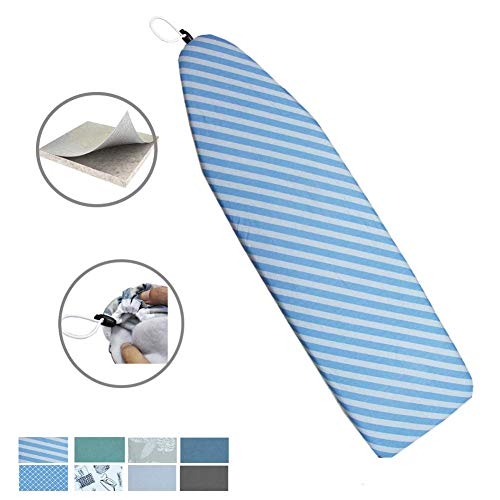 Duwee 15x54 Deluxe Heat Resistant Ironing Board Cover Thicken Felt Padding,Unique Tightening Mechanism Elastic Cord (Twill)