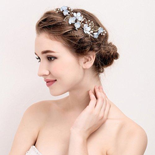 Lurrose Peinetas de la novia accesorios de cabello tocado broche de flores de cristal azul para la boda (S874)