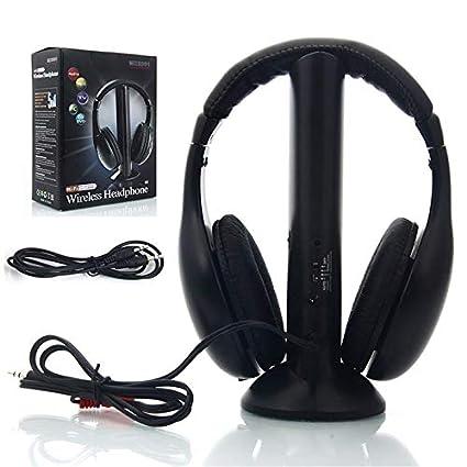 LanLan Auriculares inalámbricos RF Mic para PC TV DVD CD MP3 MP4, Cojunto de Auriculares