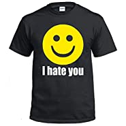 Fresh Tees I Hate You Smiley Face Emoj shirti Funny shirt Humor T-shirt