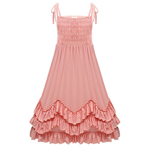 (Girls Ruffles Maxi Dress Pink Color Halter Lace Fly Sleeve Cotton Party Dress Skirts (Peach, 4T))
