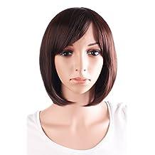 MapofBeauty Beautiful Women's Short Straight BOB Wig (Dark Brown)