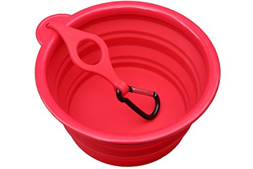 SALE! Northern Outback SUPERSIZE Travel Pet Bowl 5 CUP with BONUS Clip and Carabiner, XL for Medium to Large Dogs or Cats. Silicone Travel Dog Bowl 40oz 7