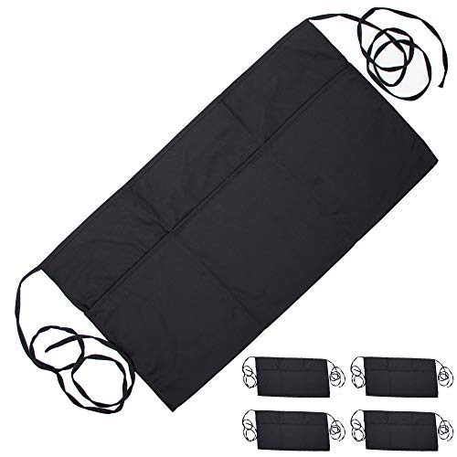 (Premium Black Waist Aprons, Waiter and Waitress Apron with 3 Pockets and Extra Long Ties (5 Pack) | Bistro Restaurant Style Half Apron for Men, Women, Servers, Cook, Bartender, Commercial Kitchen Use)
