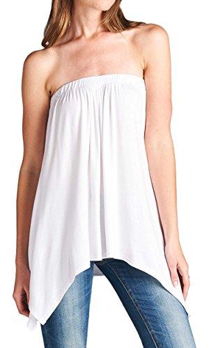 7485bb4a8aa Handkerchief Asymmetrical Hem Flared Loose Fit Strapless Tunic Shirt ...