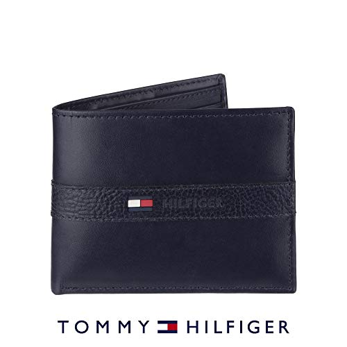 (Tommy Hilfiger Men's Leather Wallet - Thin Sleek Casual Bifold with 6 Credit Card Pockets and Removable ID Window, Navy)