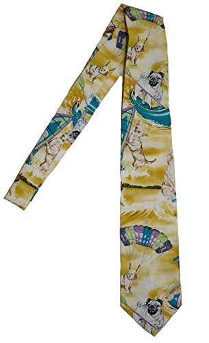Hawaii Neckties, Surf Dogs Yellow
