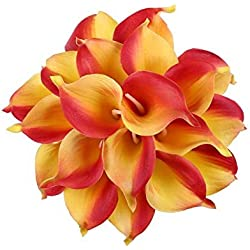 Floral Kingdom 18 PCS Real Touch PU Latex Artificial Calla Lily Flowers for Wedding Bouquets, centerpieces, and Floral Decor (Yellow-Orange)