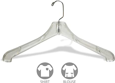 Box of 100 Sturdy 1//2 Inch Thick Top Hangers w// 360 Degree Chrome Swivel Hook for Jacket or Uniform 666670-100 The Great American Hanger Company Heavy Duty Clear Plastic Coat Hanger