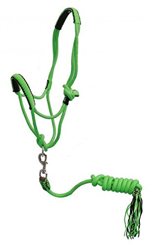 Lead Cowboy (Showman Pony Braided Nylon Cowboy Knot Rope Halter with Lead (Lime Green))