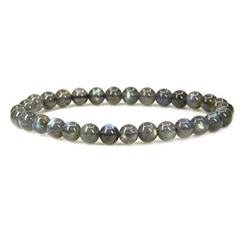 Amandastone Natural A Grade Labradorite Gemstone 6mm Round Beads Stretch Bracelet 7 Unisex