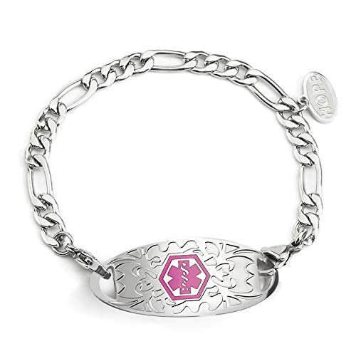 (BBX JEWELRY Figaro Chain Medical Alert Bracelets with Pink Medical ID Tag for Women Girls Free)
