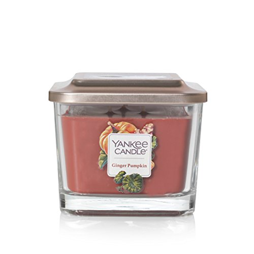 (Yankee Candle Company Elevation Collection with Platform Lid, Medium 3-Wick Square Candle | Ginger Pumpkin)