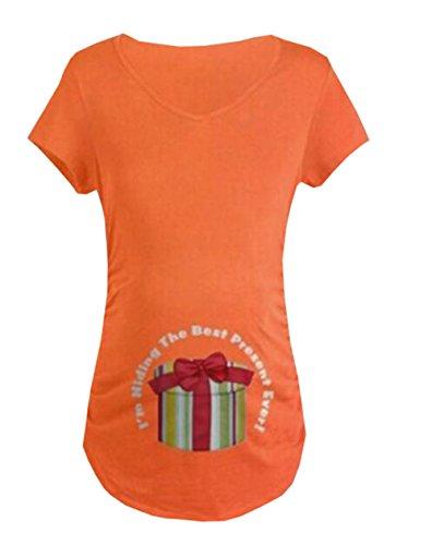 Cotone Top Morbidi Taglie Corta T Comoda Donna Pregnancy Forti Aivosen Maternity shirt Manica Stampa Incinta Casual Allentato Orange143 Maglietta Moda d0qt8Xxw