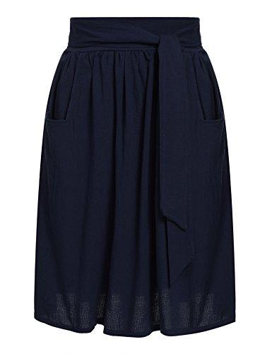 [Zeagoo Women's Tie Street Midi Plus Size Pockets Cotton Red Emerald High Waist A Line Skirts Navy Blue S] (A-line Side Zip Skirt)