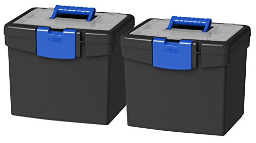Locking File Tote - Storex Portable File Box, with Lockable XL Supply Storage Lid and Carry Handle, Black/Blue, 10.9 x 11 x 13.25 inches, 2-Pack (61415B02C)