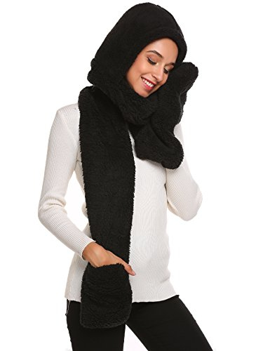 Women Winter Thick Warm Fleece Solid Gloves Pocket Long Hooded Scarf,Black,One Size