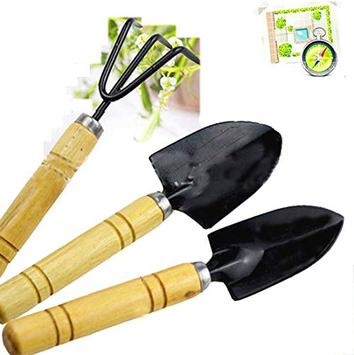 (Garden Plant Tools Sets Kids Toy Mini 3pcs Spade Shovels Rakes Bonsai Hand Transplanting Miniature Planting Succulent Fairy indoor outdoor Care Gardening)