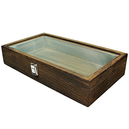 MOOCA Large Natural Wood Tempered Glass Top Lid Metal Clip Jewelry Display Case, Brown Color, 15