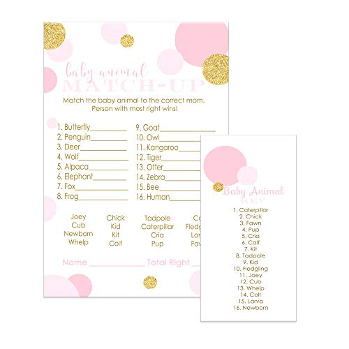 Pink and Gold Baby Shower Games Animal Match Cards (25 Pack)
