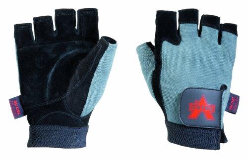 Valeo Split-Leather Fingerless Anti-Vibe Gloves With AV Gel In Palm And Gel Foam in Thumb, Thumb Joint And All Fingers - Split Foam