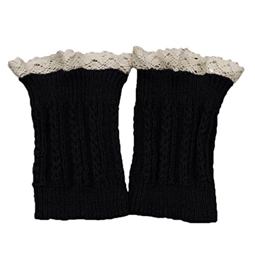 MIOIM Damen Beinlinge Herbst Winter Strickstulpen knit Spitze Beinwärmer Stulpen Leggings