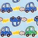 ダブルガーゼ生地 二重ガーゼ生地 Wガーゼ 生地 水色生地に かわいい車柄 (50cmから注文可) (価格は10cmの価格)の商品画像