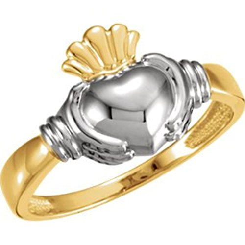 14K White Yellow Gold Two Tone Claddagh Duo Ring, Size: (Claddagh Duo)
