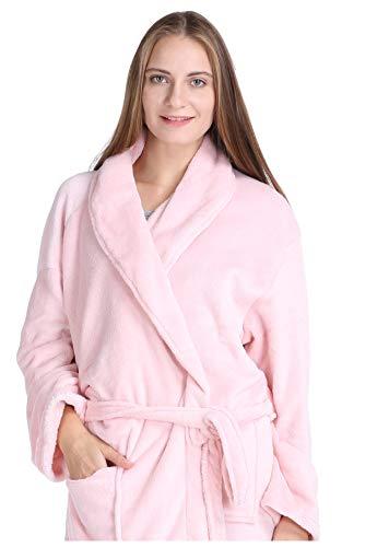 (Pembrook Ladies Robe - Soft Fleece – Pink - Size L/XL – Spa Bathrobe Women)