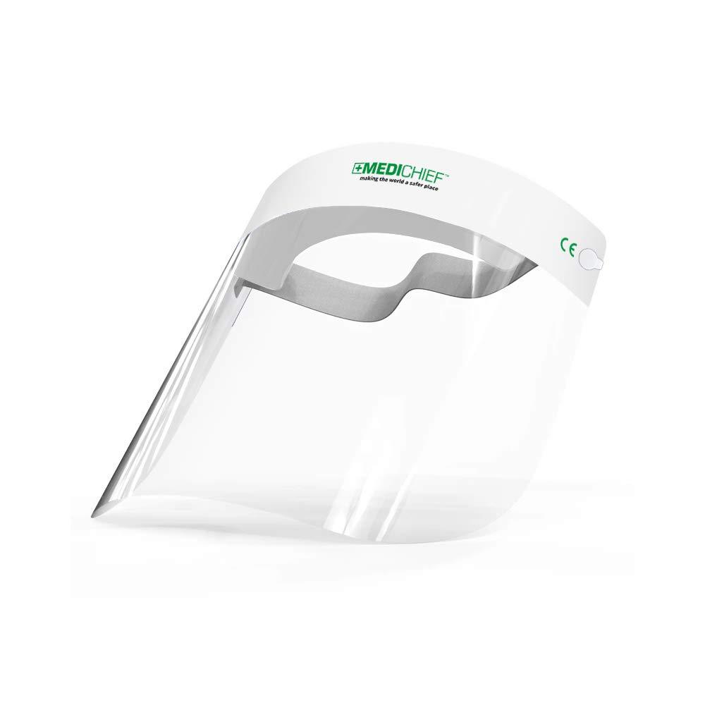 Protector Facial de Seguridad Aprobado Protector Facial//Visor Facial Premium Medichief | Visor Facial Completo Paquete de 10 Unidades Protector Facial Transparente con Protecci/ón Antiempa/ño