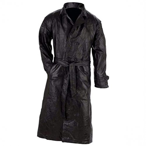 Giovanni Navarre Italian Stone Design Genuine Leather Black Trench Coat size Large (Coat Stone Italian Leather Genuine)