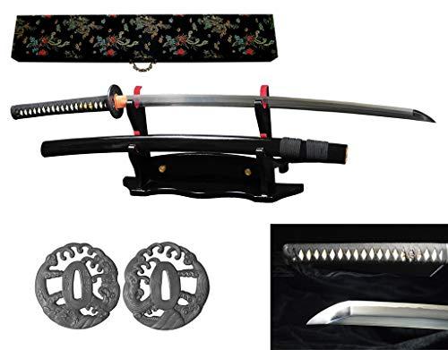RYUJIN 5160 Spring Steel Handmade Full Tang Samurai Katana Differentially Hardened with Real Straight Edge Hamon, Real Ray Skin Handle. 304 Stainless Steel Tsuba (Harou - Skin Handle Edge Katana Ray