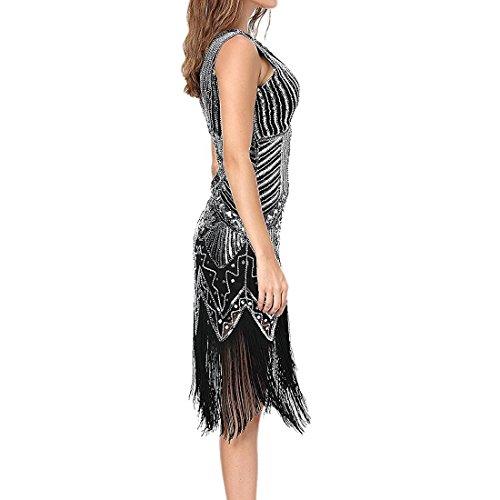 Comeon Robe Sequin, Femmes Rétro Des Années 1920 Cou V Robes À Paillettes Inspirées De Fête De Bal Du Soir Flapper De Perles Avec Pompon Noir