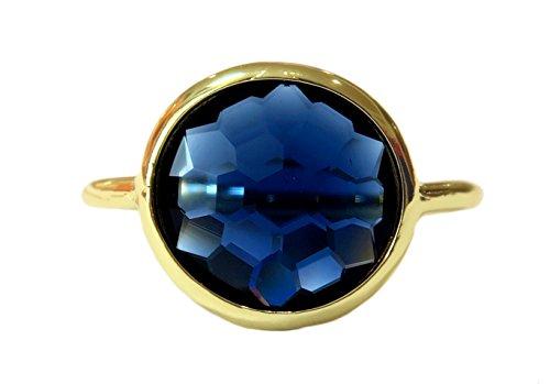 Gemaholique Wholesale 4 Pc. Pack Sizes 6,7,8,9 London Blue Quartz 18k Gold Clad Fashion Jewelry Gemstone Round Ring (Sizes 6,7,8,9) price tips cheap