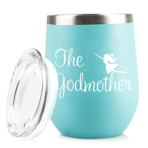 Godmother Announcement Proposal - Funny 12 oz Stainless Steel Wine Glass Tumbler - Unique Gift Idea for Baptism or Christening Gifts - Perfect Unique Mother's Day or Christmas for Mom (Godmother Gift)