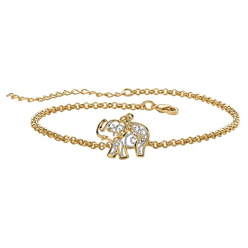 (Lux 18K Yellow Gold-Plated Two Tone Elephant Filigree Charm Ankle Bracelet (12.5mm) 9