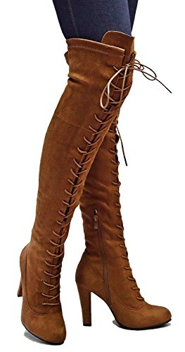 Forever Women FD14 Stretchy Lace Up Over The Knee Thigh High Combat Chunky Heel Boots, Tan 6 B(M) US