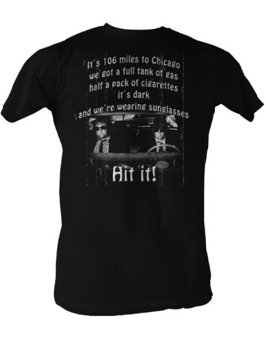 The Blues Brothers 106 Miles Adult Black Tee Shirt, - Blues 106 Brothers Miles