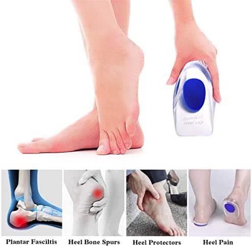 Supcare Gel Heel Cups Plantar Fasciitis Inserts, Blue Silicone Heel Cushion Inserts for Bone Spurs/Achilles Pain, Heel Pads Shoes Inserts for Seniors, Heel Spur Relief for Men Women Shoes Size 9-11
