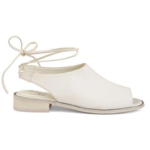 (Brinley Co. Womens Bobbi Faux Nubuck Slingback Open-Toe Sandals White, 10 Regular US)