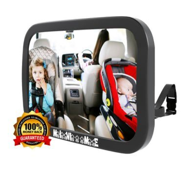 Baby Car Mirror for Back Seat | Rear Facing Car Seat | See Children And Pets | X Large | CRASH TESTED | Wide Angle View Of Whole Backseat | Shatterproof Acrylic Safety Double-Strap Mirror Mini Me Baby Car Mirror
